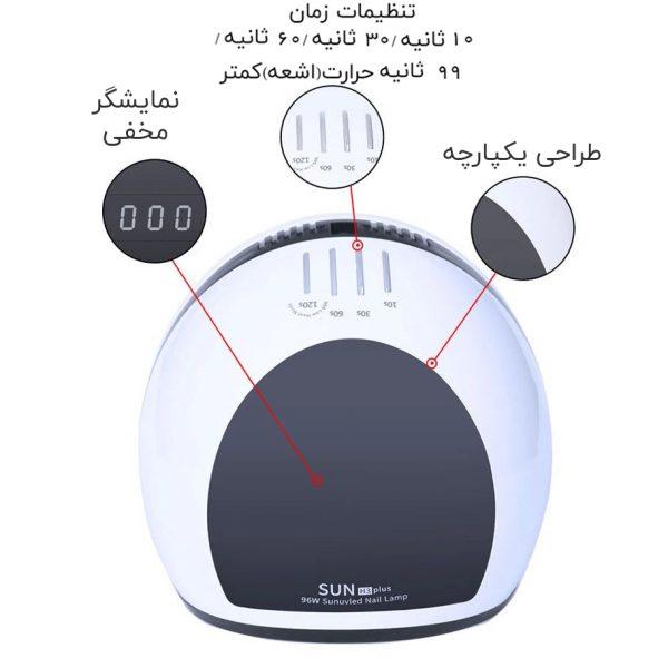 دستگاه یووی ال ای دی 96 وات مدل H3 Plus سان | SUN